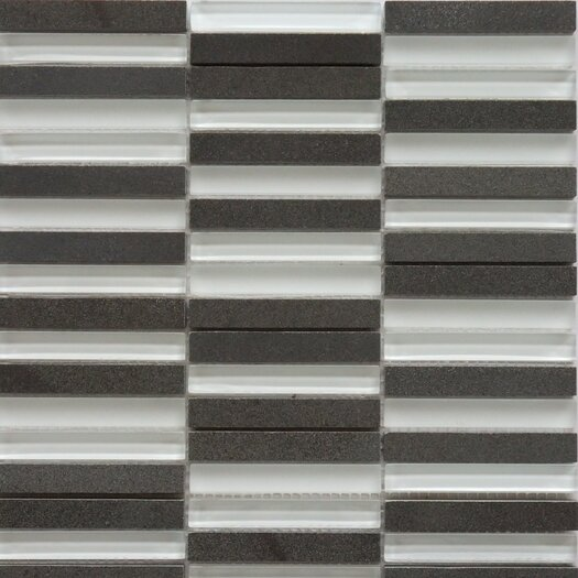 Faber Opus Series Mixed Glass and Marble Mosaic in Basalt