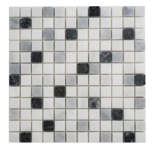 """Faber Cool Mix Blend 1"""" x 1"""" Marble Mesh-Mounted Mosaic in Multi"""