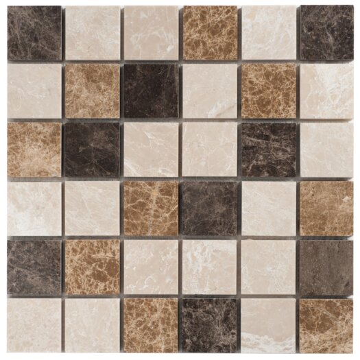 """Faber Spanish Blend 2"""" x 2"""" Marble Mesh-Mounted Mosaic in Multi"""