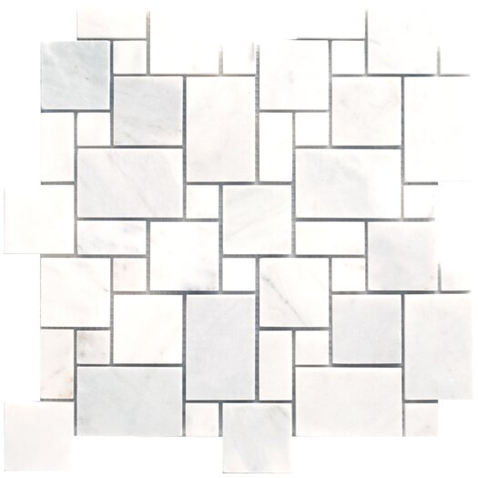 Faber Carrara Extra Mini Pattern Random Sized Marble Polished Mosaic in White