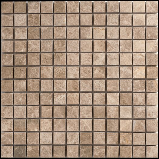 "Faber Emperador 1"" x 1"" Light Marble Polished Mosaic in Beige and Brown"