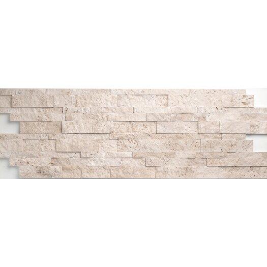 Faber Light Ivory Travertine Split Face Random Sized Wall Cladding Mosaic