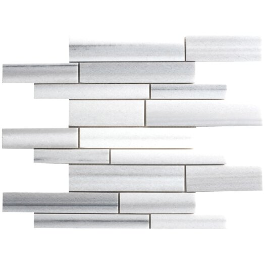 Faber Equator Random Sized Strip Marble Polished Mosaic in White and Gray