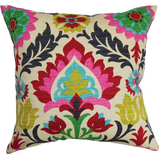 The Pillow Collection Tahsis Floral Cotton Throw Pillow