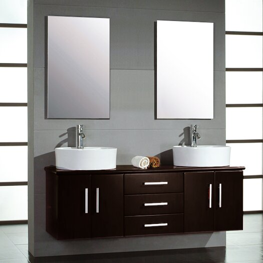 "Cambridge Plumbing Hematite 59"" Double Bathroom Vanity Set with Mirrors"