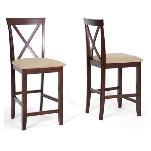 "Wholesale Interiors Baxton Studio Natalie 25.125"" Bar Stool with Cushion"