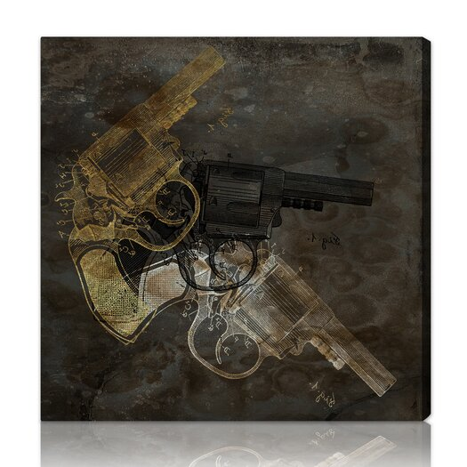 "Oliver Gal Hatcher & Ethan """"Gold Revolver"""" Graphic Art on Canvas"
