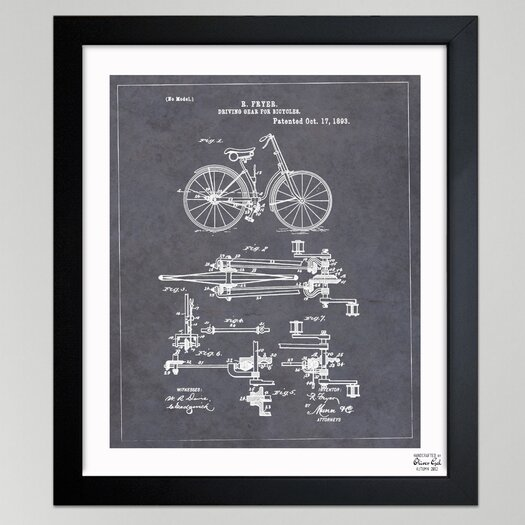 "Oliver Gal Oliver Gal """"Fryer, Driving Gear for Bicycle, 893"""" Framed Graphic Art"
