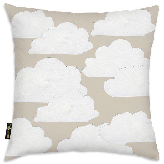 Easel Khaki Clouds Throw Pillow