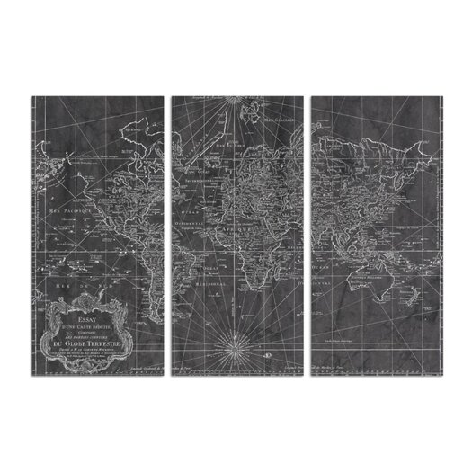 'World Map 1778 Triptych' 3 Piece Painting Print Set on Wrapped Canvas