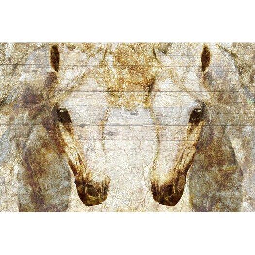 'Gold Stallions' Painting Print