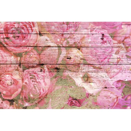 Roses in Pink Painting Print on Wood
