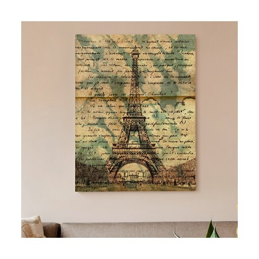 Oliver Gal Canyon Gallery Eiffel Words Graphic Art on Wrapped Canvas