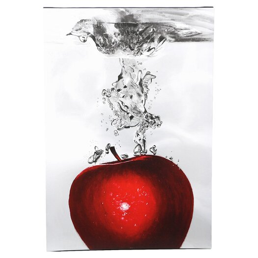 "Trademark Fine Art ""Red Apple Splash"" by Roderick Stevens Photographic Print on Wrapped Canvas"