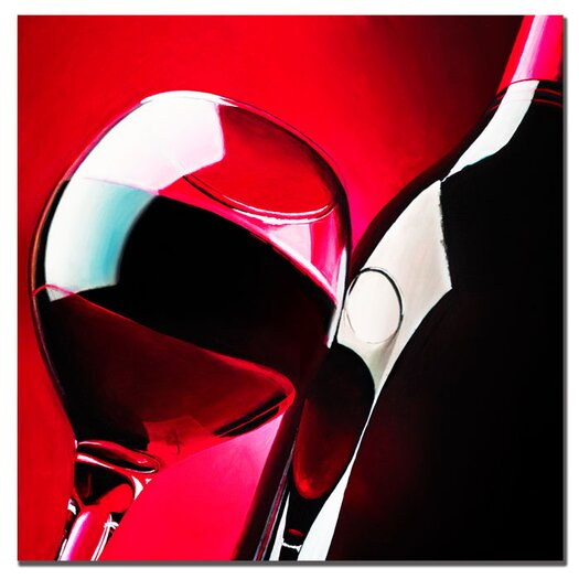 """Trademark Fine Art """"Red Wine"""" by Roderick Stevens Painting Print on Wrapped Canvas"""