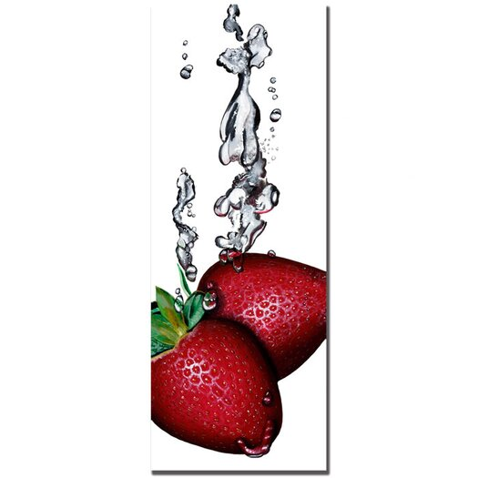 "Trademark Fine Art ""Strawberry Splash II"" by Roderick Stevens Photographic Print on Wrapped Canvas"