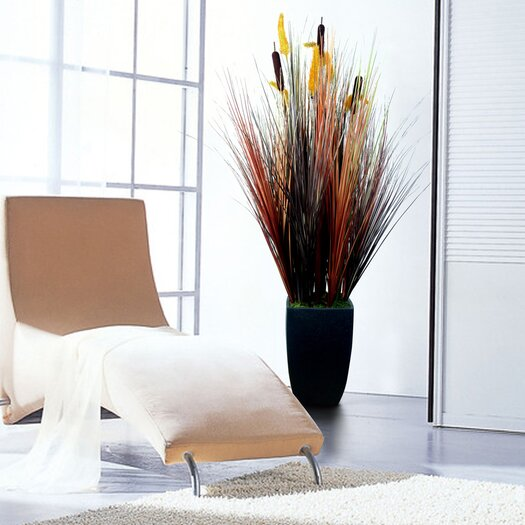 Laura Ashley Home Silk Contemporary Onion Grass in Square Tapered Planter