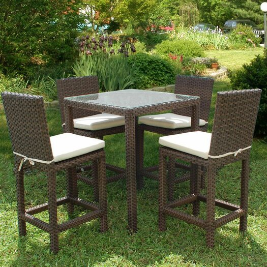 International Home Miami Atlantic 5 Piece Bar Set with Cushions