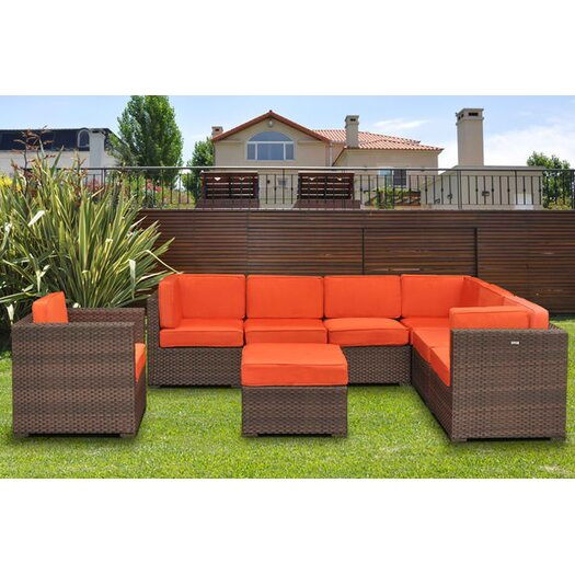 International Home Miami Marseille 8 Piece Deep Seating Group with Cushions