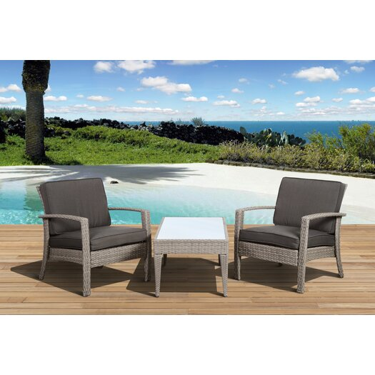 International Home Miami Atlantic Java 3 Piece Seating Group with Cushion