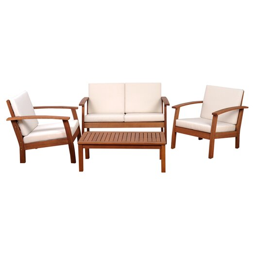 International Home Miami Amazonia Chicago 4 Piece Seating Group with Cushions