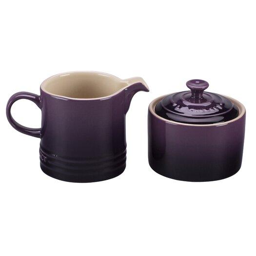 Le Creuset Stoneware 2 Piece Covered Sugar Bowl & Creamer Set