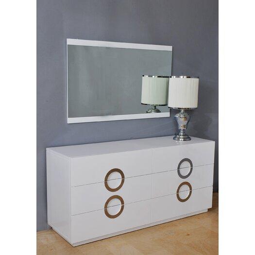 Whiteline Imports Eddy 6 Drawer Dresser with Mirror
