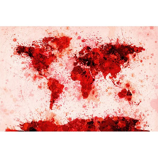 iCanvas World Map Splashes by Michael Tompsett Painting Print on Canvas in Red