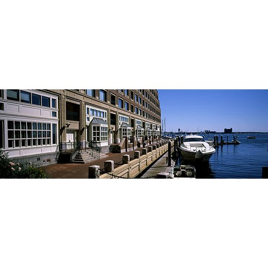 Rowes Furniture iCanvas Panoramic Boats at a Harbor, Rowe's Wharf, Boston Harbor ...