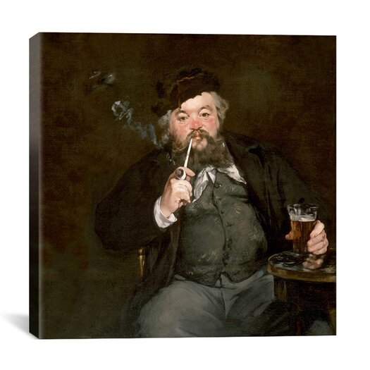 "iCanvas ""A Good Glass of Beer (Le Bon Bock)"" Canvas Wall Art by Edouard Manet"