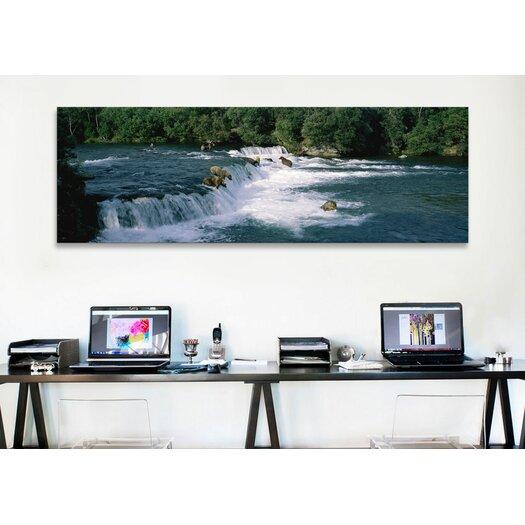 iCanvas Panoramic Bears Fish Brooks Fall Katmai AK Photographic Print on Canvas