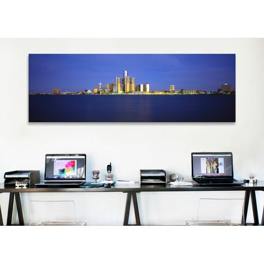 iCanvas Panoramic Buildings at Waterfront, Detroit, Michigan Photographic Print on Canvas