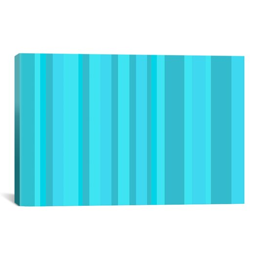 iCanvas Striped Aqua Torquise Cyan Graphic Art on Canvas