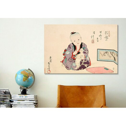 iCanvas Child Playing with Doll Japanese Woodblock Graphic Art on Canvas