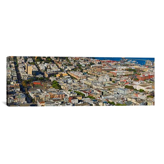 iCanvas Panoramic Aerial View of Columbus Avenue and Fisherman's Wharf, San Francisco Photographic Print on Canvas
