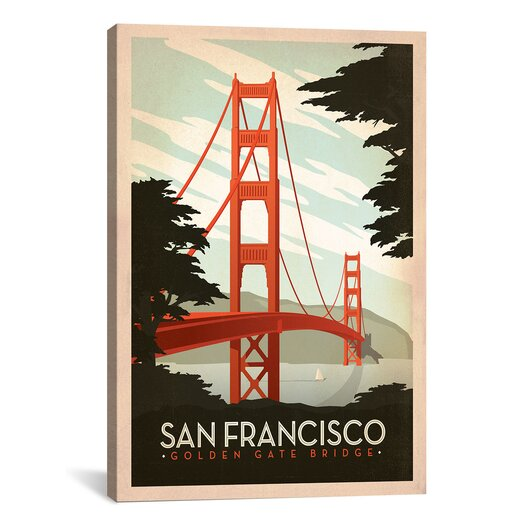 "iCanvas ""Golden Gate Bridge San Francisco, California"" by Anderson Design Group Vintage Advertisement on Canvas"