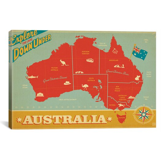 iCanvas 'Explore Down Under, Australia' by Anderson Design Group Vintage Advertisement on Canvas