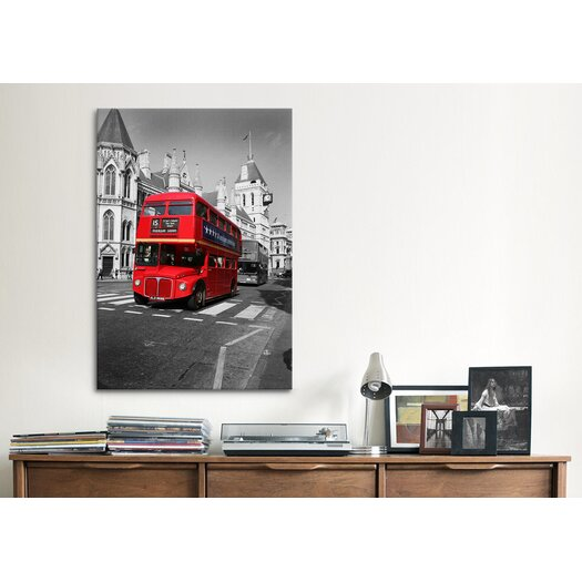 iCanvas 'Red Bus' by Chris Bliss Photographic Print on Canvas
