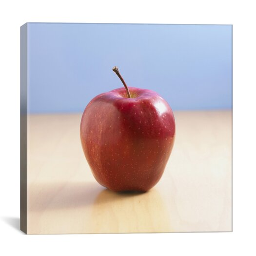 iCanvas Red Apple on Wood Desk Photographic