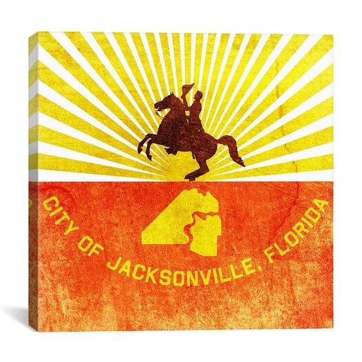 iCanvas Jacksonville Flag, Grunge Graphic Art on Canvas