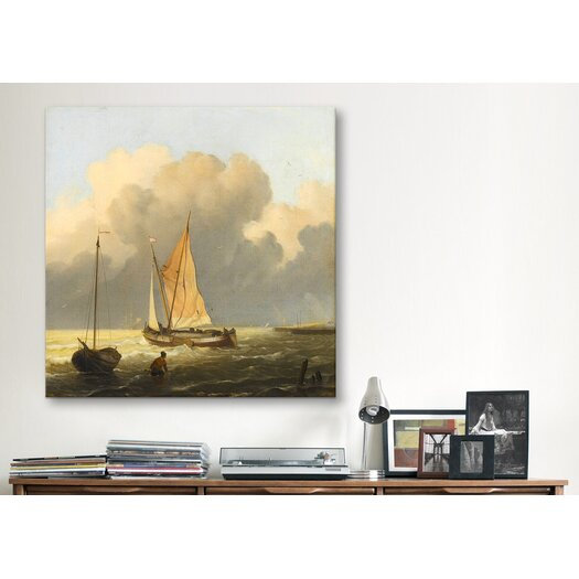 """iCanvas """"Coastal Scene with a Tjalk"""" Canvas Wall Art by Ludolf Backhuyzen"""