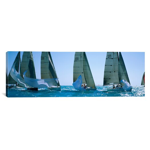 iCanvas Panoramic Sailboat Racing in the Ocean Key West, Florida Photographic Print on Canvas