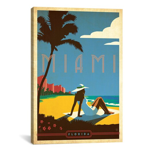 iCanvas Anderson Design Group 'Miami, Florida' Vintage Advertisment on Canvas