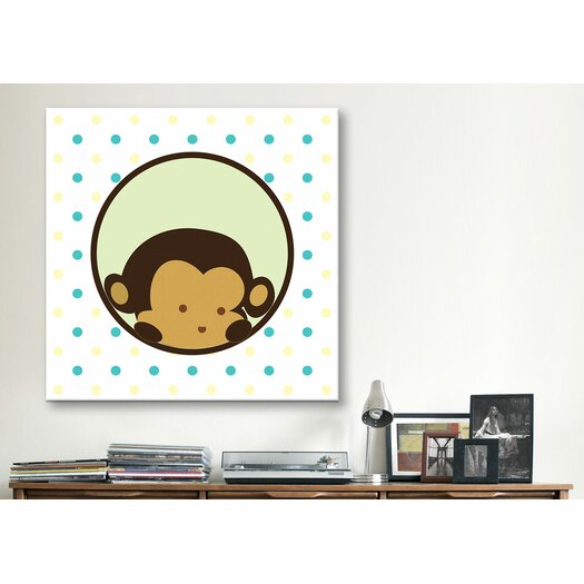 iCanvas Kids Children Monkey Face Spots Canvas Wall Art
