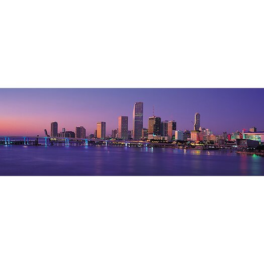 iCanvas Panoramic Miami Skyline Cityscape Photographic Print on Canvas in Evening