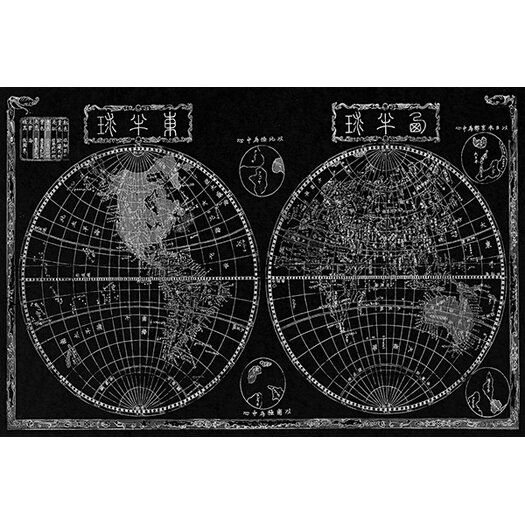 iCanvas Antique Maps Japanese of The World in Two Hemispheres (1848) by Shincho Graphic Art on Canvas in Black