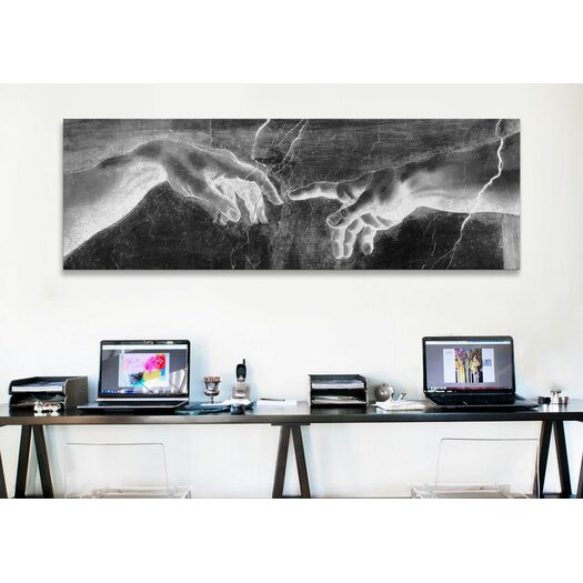 iCanvas 'The Creation of Adam II Panoramic' by Michelangelo Painting Print on Canvas