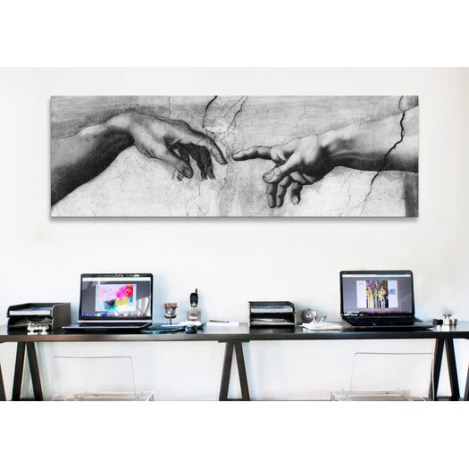 iCanvas 'The Creation of Adam V Panoramic' by Michelangelo Painting Print on Canvas