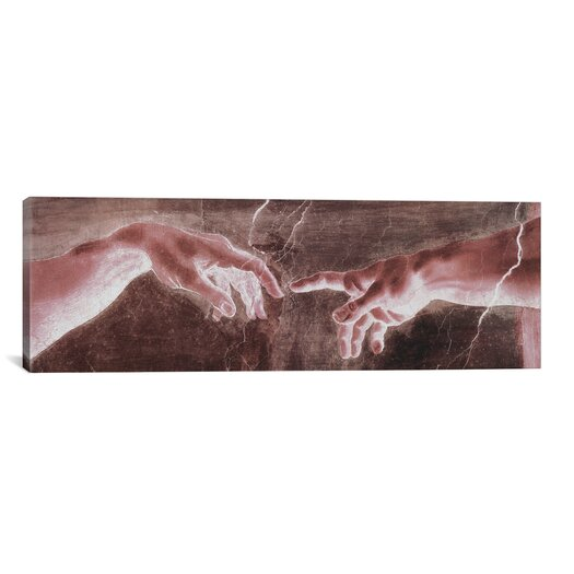 iCanvas 'The Creation of Adam VI Panoramic' by Michelangelo Painting Print on Canvas