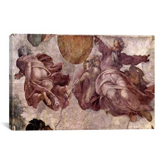 iCanvas 'The Creation of the Sun, Moon and Earth 1535-1541' by Michelangelo Painting Print on Canvas